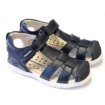 Biomecanics Boys Navy Leather Closed Sandals With Scuff Protection