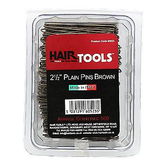 Hairtools 2,5 Zoll Plain Pins Brown