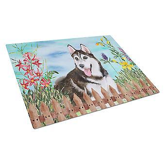 Siberian Husky #2 Spring Glass Cutting Board Large