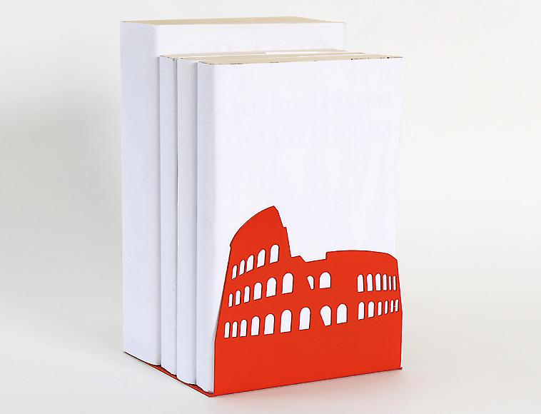 Vermillion Colosseum Rome European Landmark Bookend