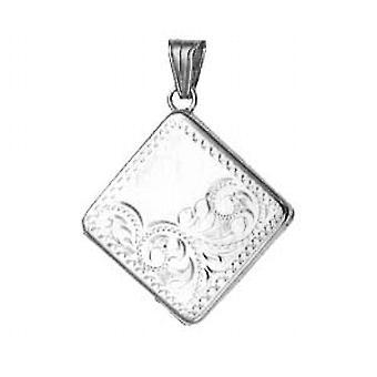 Silver 22mm half hand engraved flat diamond shaped Locket