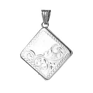 Silver 22mm half hand engraved flat diamond shaped Locket