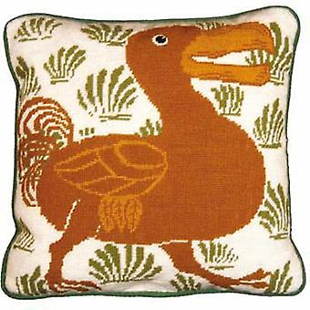 Cream and Green Dodo Needlepoint Canvas
