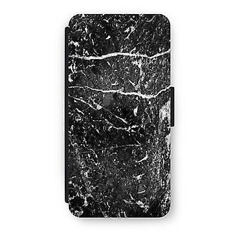iPhone 7 Flip Case - svart marmor