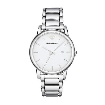 Emporio Armani Mens Gents Watch Silver Stainless Steel Strap White Dial AR1854