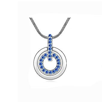 Womens Dark Blue Pendant Necklace Crystal Stones Mix & Match