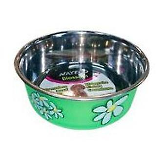 Nayeco Trough stainless green Blossom 300 ml (Dogs , Bowls, Feeders & Water Dispensers)