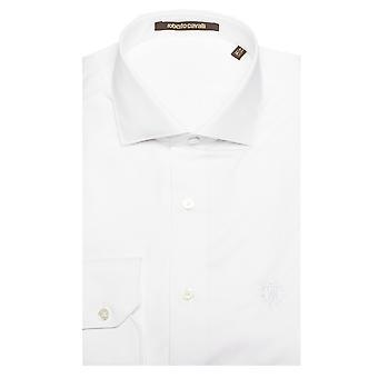Roberto Cavalli uomo di diffusione colletto cotone abito camicia bianco