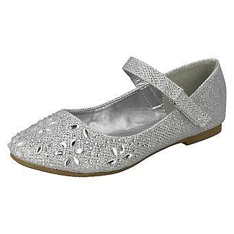 Girls Spot On Hook & Loop Bar Strap Diamante Ballerinas H2484 - Silver Glitter - UK Size 12 - EU Size 30 - US Size 13