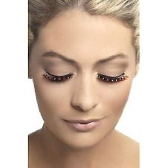 Dramatic Eyelashes - Black - with Red Crystals - Contains Glue