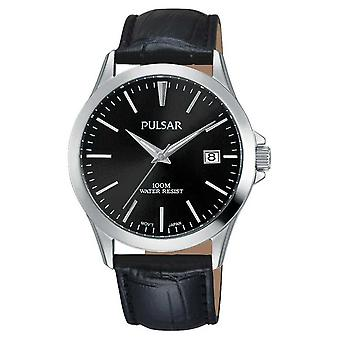 Pulsar Mens Black Alligator Pattern Leather Strap PS9457X1 Watch