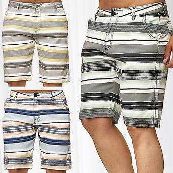 Men's Chino Shorts Casual Bermuda 3/4 Capri Trousers 7/8 Pants Summer Striped