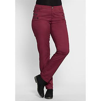 sheego ladies stretch trousers in the biker look Bordeaux