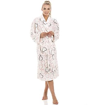 Camille White Supersoft Fleece Pink And Grey Heart Print Shawl Collar Bathrobe