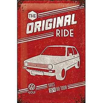 VW Volkswagen Golf de oprindelige Ride præget stål tegn (300 Mm X 200 Mm)