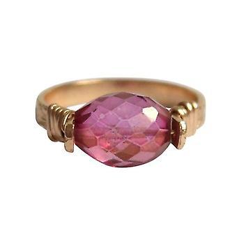 Gemshine - women's - ring - pull-ring - gold plated - tourmaline - pink