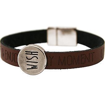 Gemshine Damen Armband Wunsch WISHES Braun Dunkel Magnetverschluss