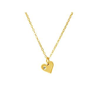 Gemshine - women - Heart - Necklace - pendant - 925 Silver gold plated diamond - brillant - HVS - 10 mm