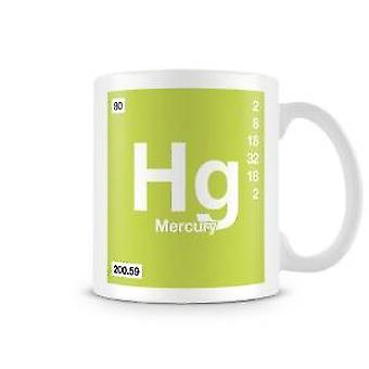 Mug imprimé scientifique mettant en vedette élément symbole Hg 080 - mercure
