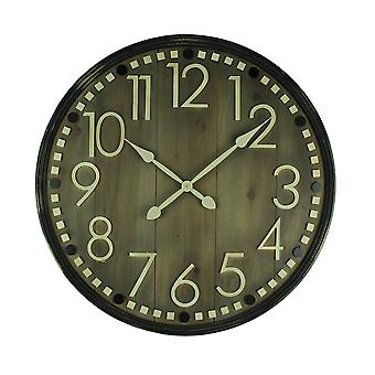 Rustic Wooden Slat 31 Inch Diameter Wall Clock