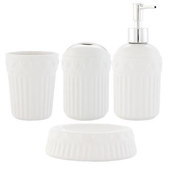 Clayre & EEF 4er zestaw łazience ceramiczne mydła dozownik Kubek Kubek na szczoteczki