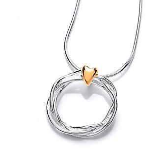 Cavendish franske sølv og guld vermeil hjerte og krans vedhæng uden kæde