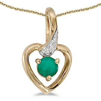 14k Yellow Gold Round Emerald And Diamond Heart Pendant with 18