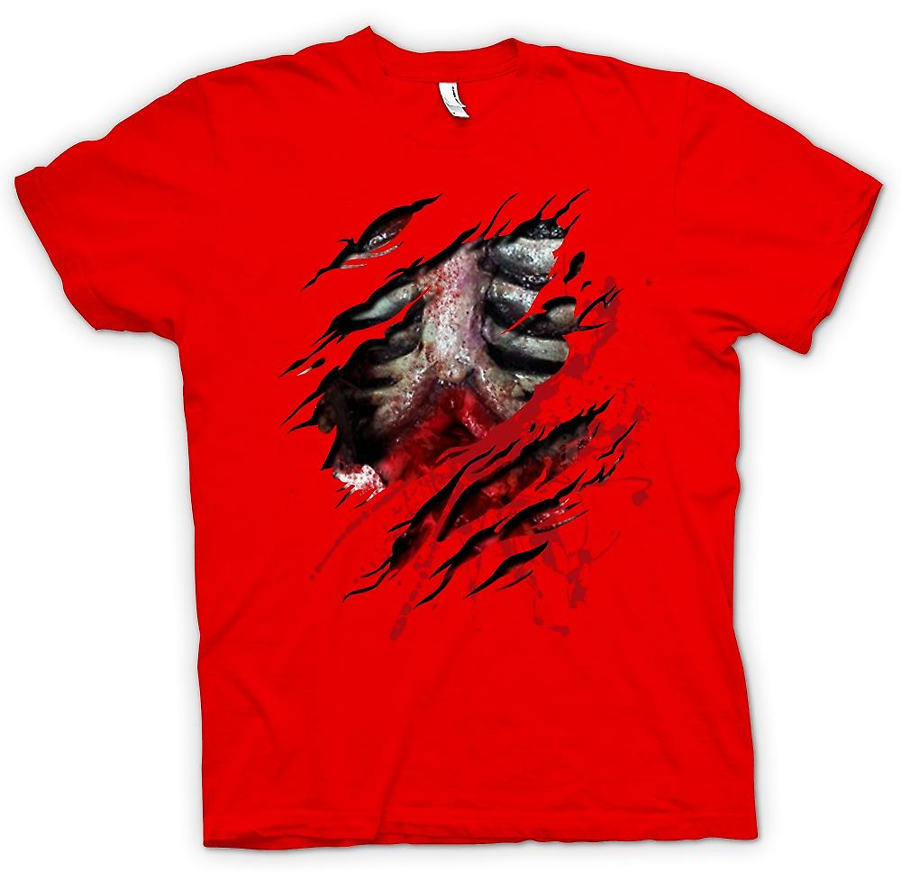 Mens T-shirt - Zombie Walking Dead Ribs And Guts Ripped Design