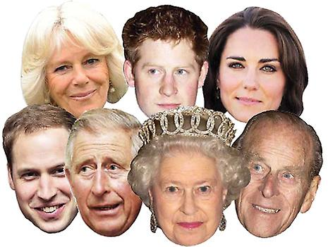 Diamond Jubilee - Royal Family Card Face Mask Set of 7