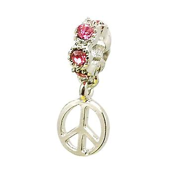 TOC BEADZ Pink Crystal Peace Symbol 4mm Dangle Bead