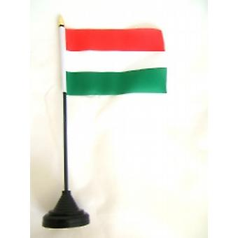 Hungary Table Flag with Stick and Base