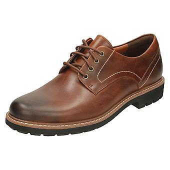 Mens Clarks Smart Lace Up Shoes Batcombe Hall - Dark Tan Leather - UK Size 13G - EU Size 48 - US Size 14M