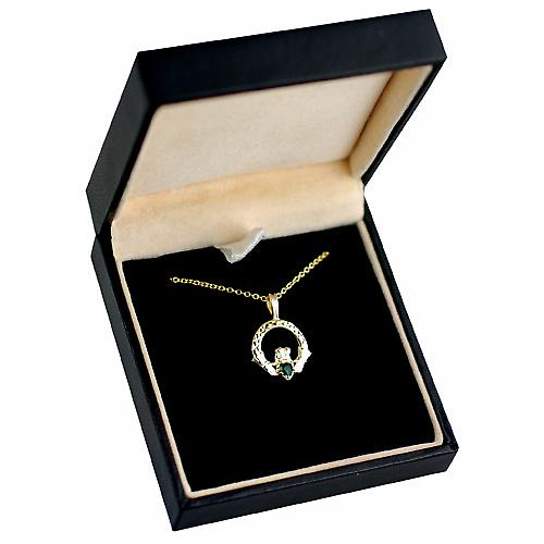 9ct Gold 20x15mm diamond cut green agate set Claddagh Pendant cable Chain 16 inches Only Suitable for Children
