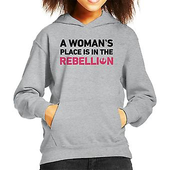 Star Wars A Womans Place Is In The Rebellion Kid's Hooded Sweatshirt