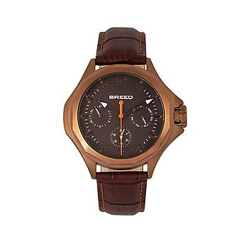 Breed Tempe Leather-Band Watch w/Day/Date - Brown/Bronze