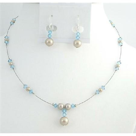 Affordable Customize Jewelry Champagne Pearls Aquamarine Crystals Set