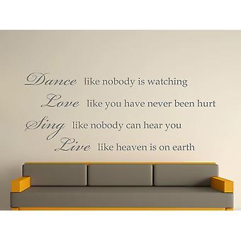 Dance Like Nobody Is Watching Wall Art Sticker -  Grey