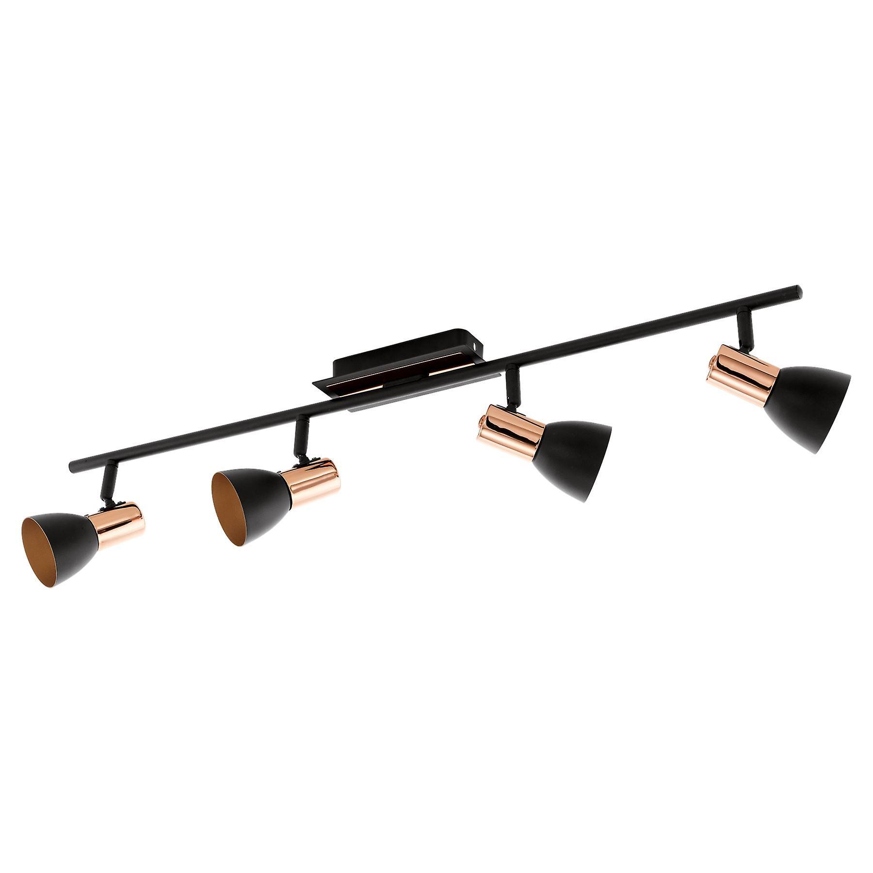 Eglo - Barnham Matt noir & Copper Quad LED Spot Light EG94587