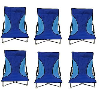 6 niebieski Nalu składane niskie siedzenia krzesło Camping leżaki