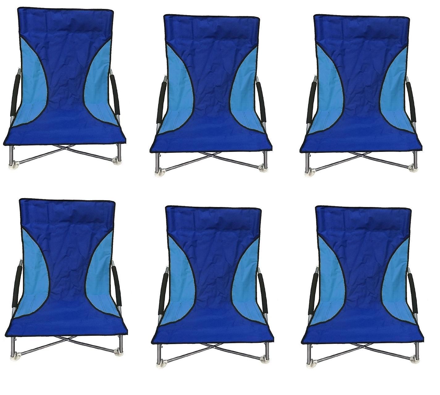 6 bleu Nalu Folding Low Seat Beach Chair Camping Chairs