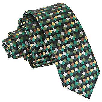 Verde con oro, plata y bronce cuadros geométrico flaco corbata...