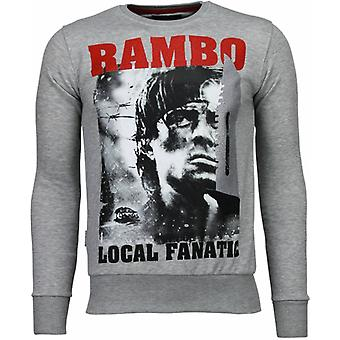 Rambo-Rhinestone Sweatshirt-Grey