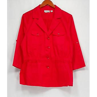 Joan Rivers Classics Collection Basic Jacket Utility Pocketed Red A252136