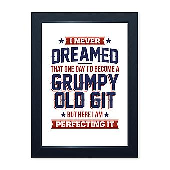 Perfecting Grumpy Old Git, Funny Framed Print - Home Decor Kitchen Bathroom Man Cave Wall Art