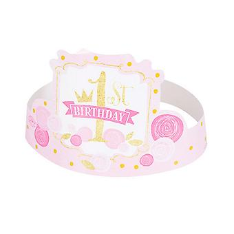 Unique Party Baby Girls 1st Birthday Hats (Pack Of 6)