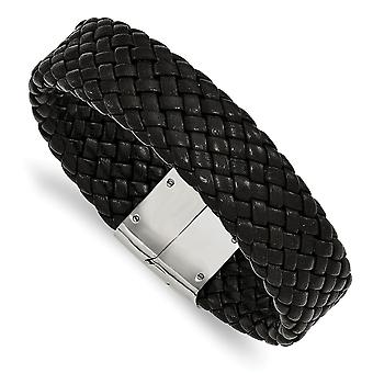 Stainless Steel Polished Woven Black Leather Bracelet - 8.5 Inch