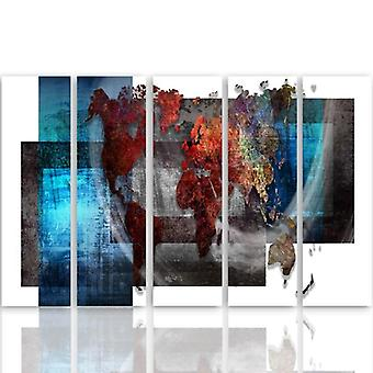 Five Part Picture On Canvas, Pentaptych, Type C, Composition With A World Map