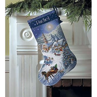 Gold Collection Sleigh Ride At Dusk Stocking Counted Cross 16