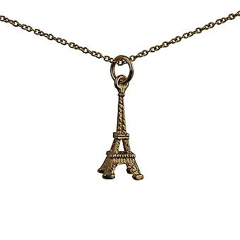 9ct Gold 17x9mm Eiffel Tower Anhänger mit einem Kabel Kette 16 Zoll nur geeignet für Kinder