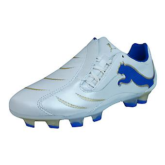 Puma PowerCat 2.10 FG Boys Leather Football Boots / Cleats - White